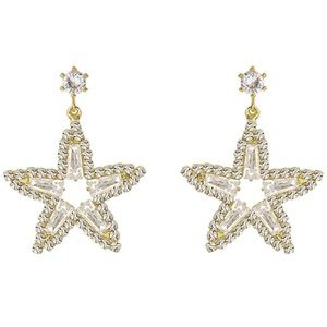 Dazzling 5 point Star Gold Crystal Earrings!